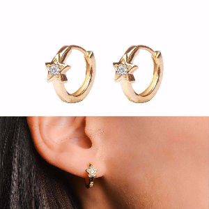 5 Pointed Star Hoop Earrings