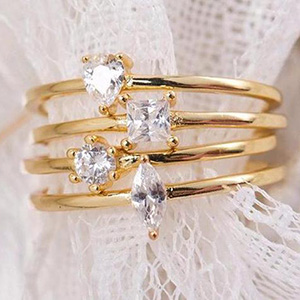 Dainty 4x 18K Vermeil Ring Set