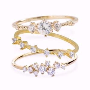 3x 14K Gold Vermeil Sasha Sparkle, Nicolette, Aileen Ring Set