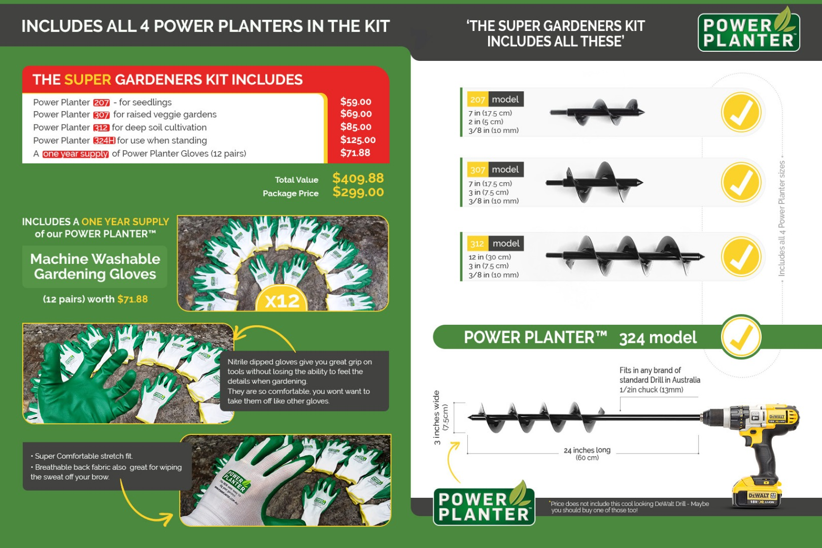 Super Gardeners Kit - includes all 4 Power Planters