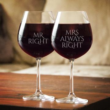 MR OR MRS RIGHT WINE GLASSES