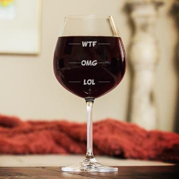 WTF, OMG, LOL WINE GLASS