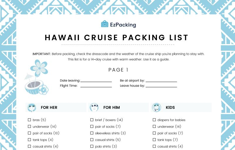 It is a photo of Printable Cruise Packing List in universal
