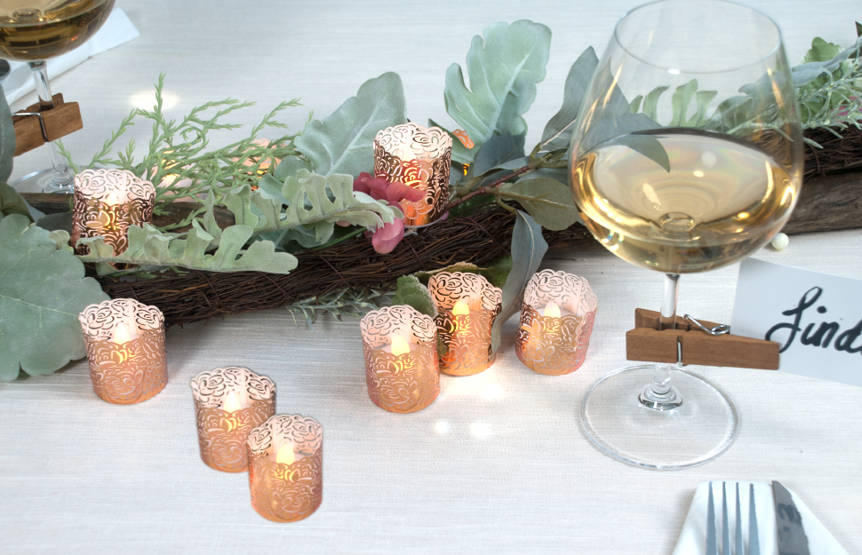 flameless tea lights with wraps in copper