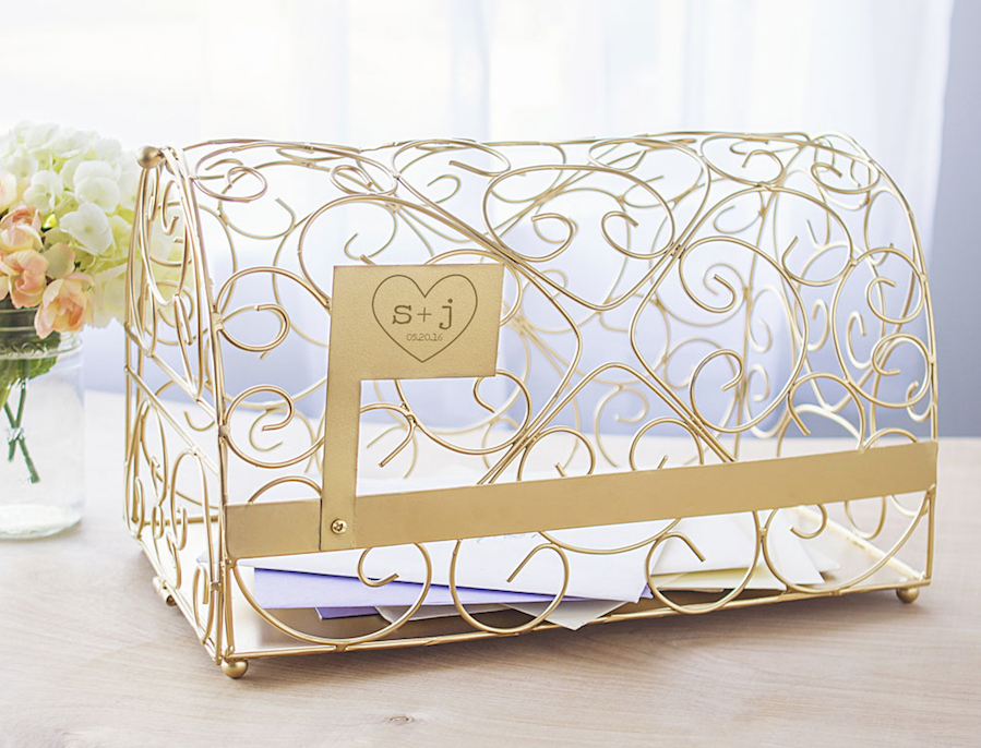 Gold Heart Wedding Card Holder