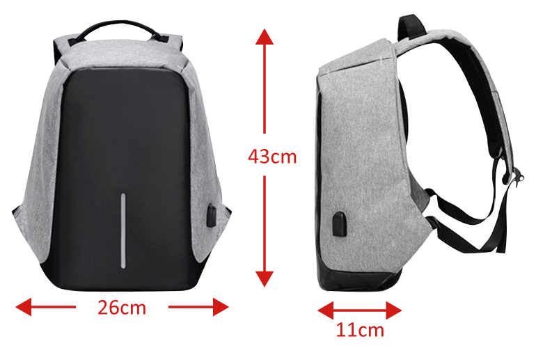 TACTICAL BACKPACK X9 ANTITHEFT WITH USB CHARGER