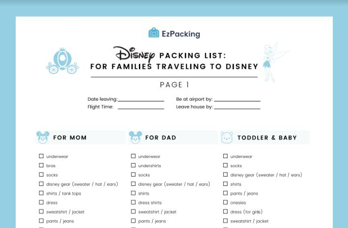Free packing list for families going to Disneyland