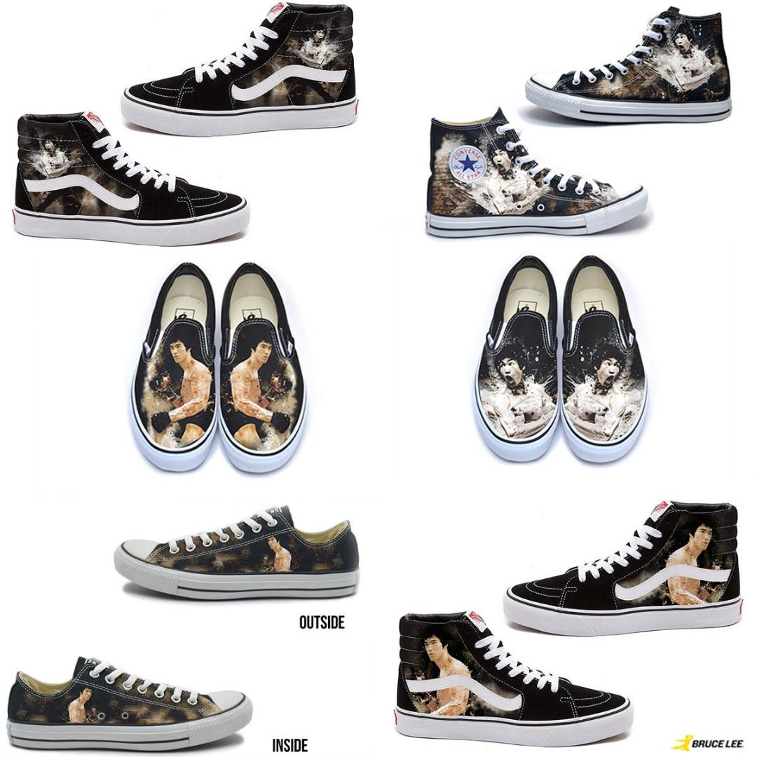 New Bruce Lee Custom Vans And Converse Sneakers