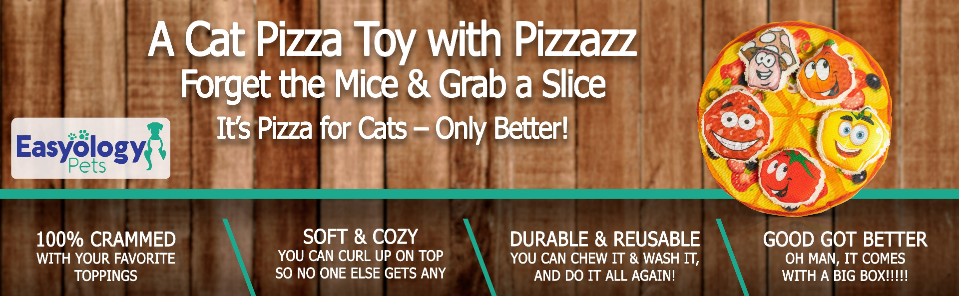 Easyology Pets Cat Pizza Party Toy