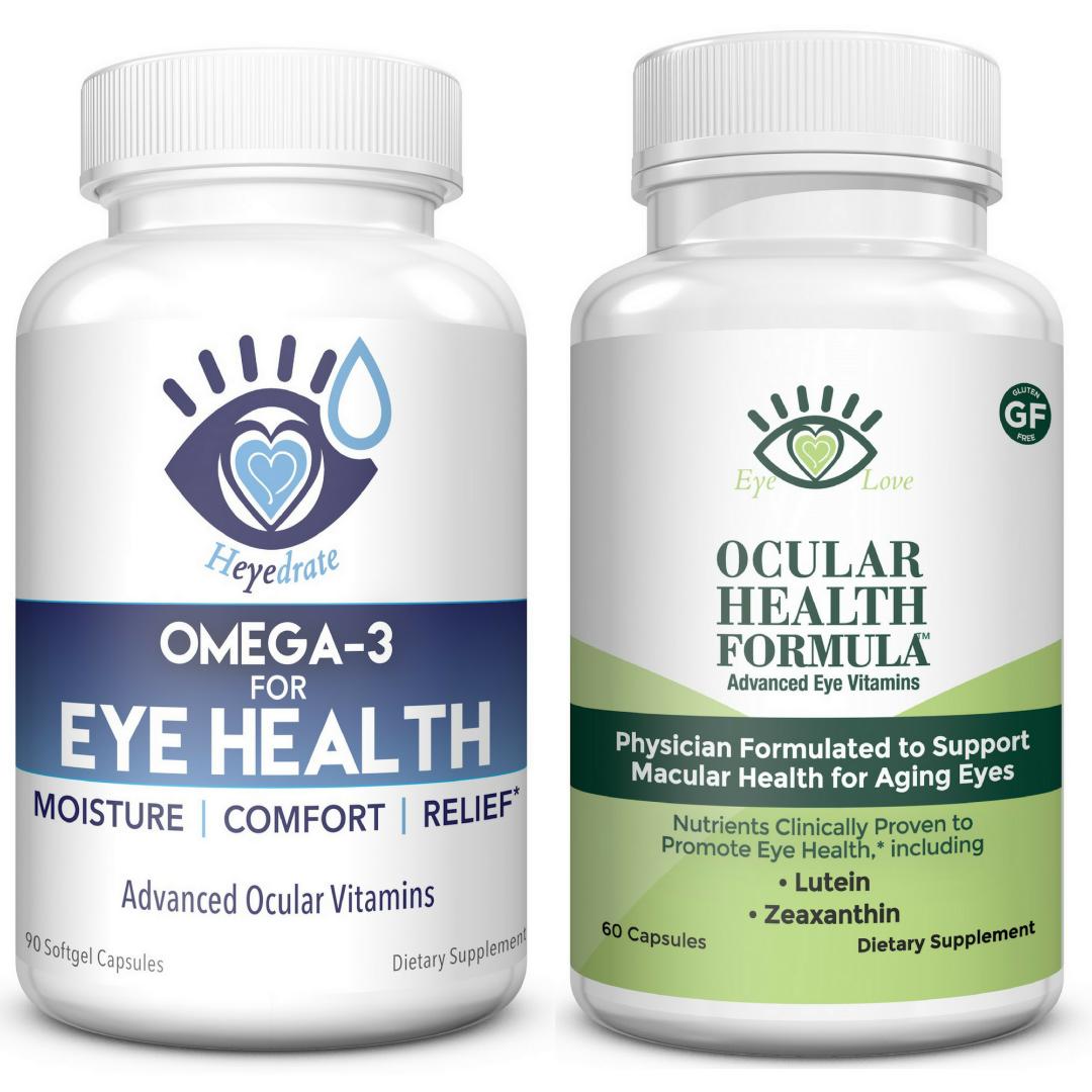 Eye Love Ocular Health Formula and Heyedrate Omega 3 for Eye Health