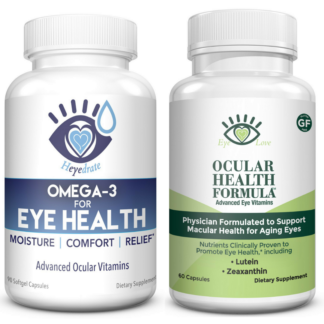 Eye Love Ocular Health Formula and Heyedrate Omega 3 for Eye Health