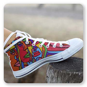 Abstract Graffiti Chiliean Faces Hightop White