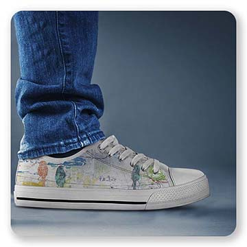 Canvas Low Top White Shoe - Bird Trio on Wires