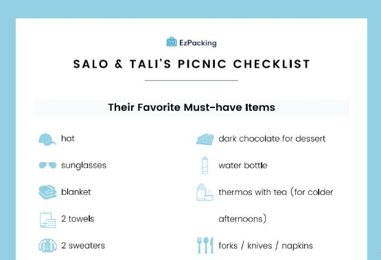 Salo and Tali EzPacking picnic checklist for family