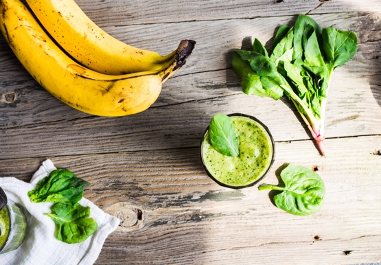 Breakfast smoothie with banana and spinach