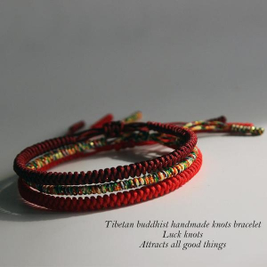 Lucky Handmade Buddhist Knots Rope Bracelet