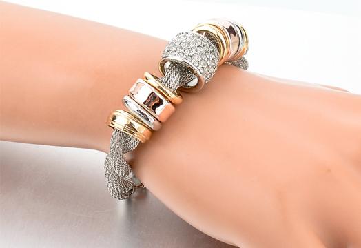 Entwined Silver Metal Bracelet