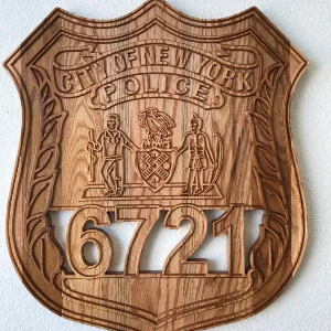 USAF Veteran Made - Custom WoodCarved Oak Plaque for Police, Sheriff & K9. You Personalize with Badge or Emblem!