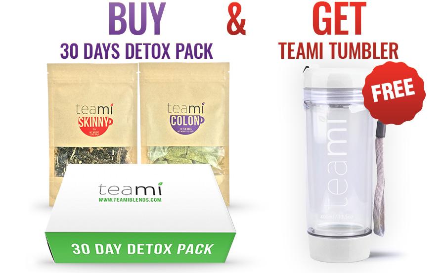 teami detox 30 days pack free yellow tumbler