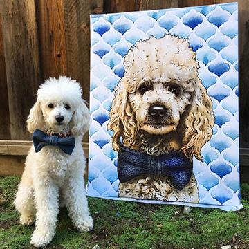 Dog next to Custom Pop Art