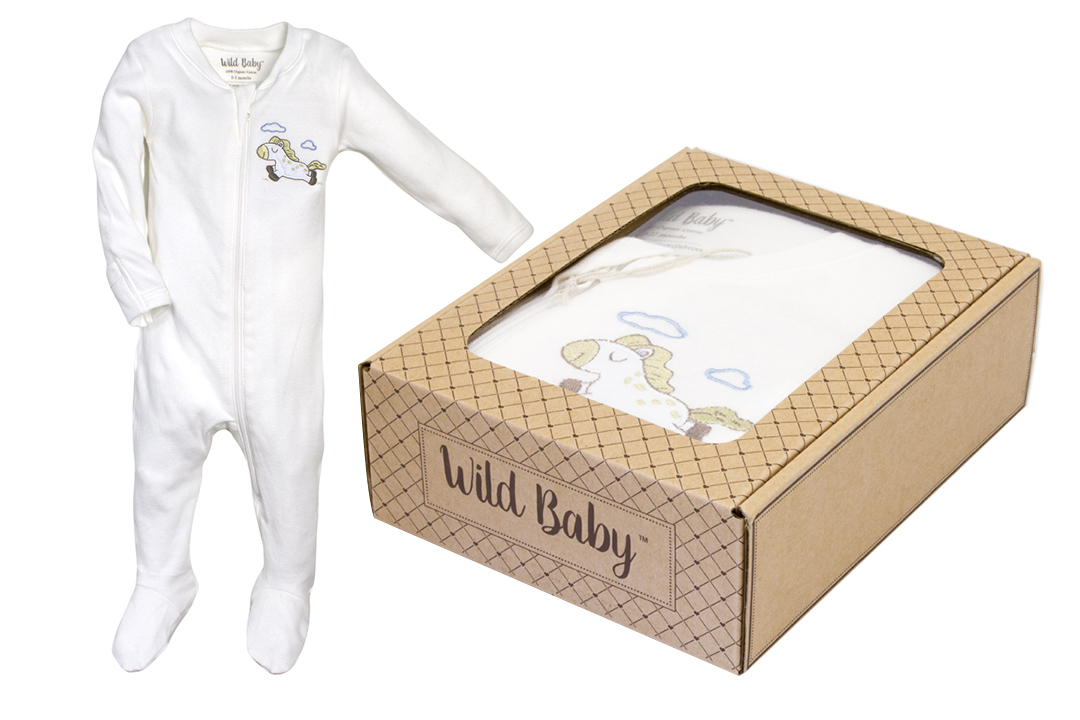 WildBaby Horse Organic Zipper Footie