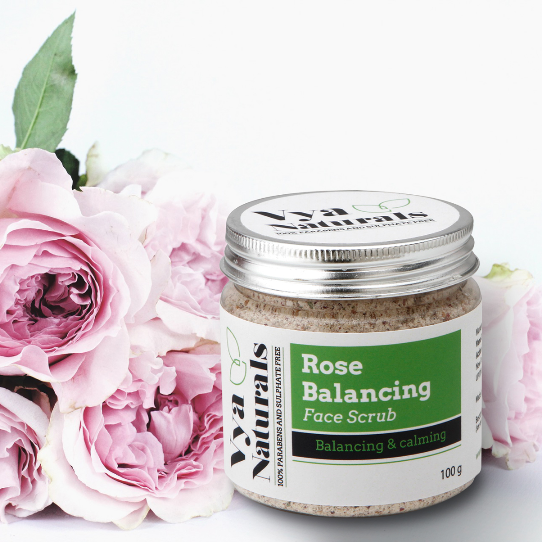 Rose Facial Scrub For Face (Dry Powder Exfoliant)-With Real Rose Petals-Microdermabrasion Scrub-100g
