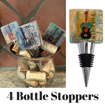 4 Bottle stoppers with Ron Olson Memphis Guitar Art