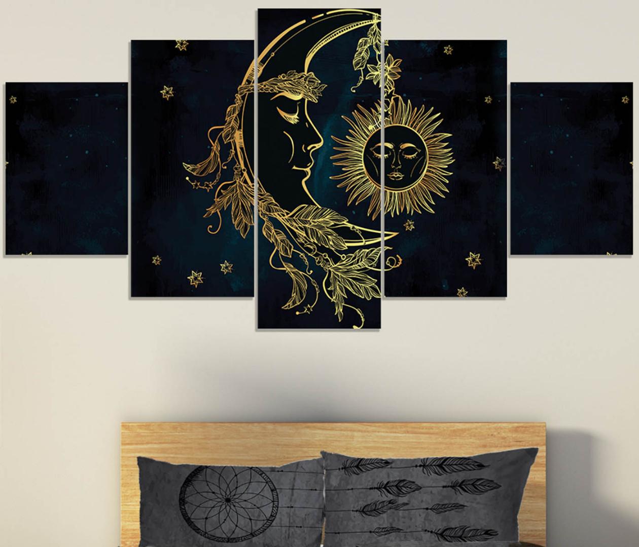 Bohemian Bedding, Sun and Moon Canvas