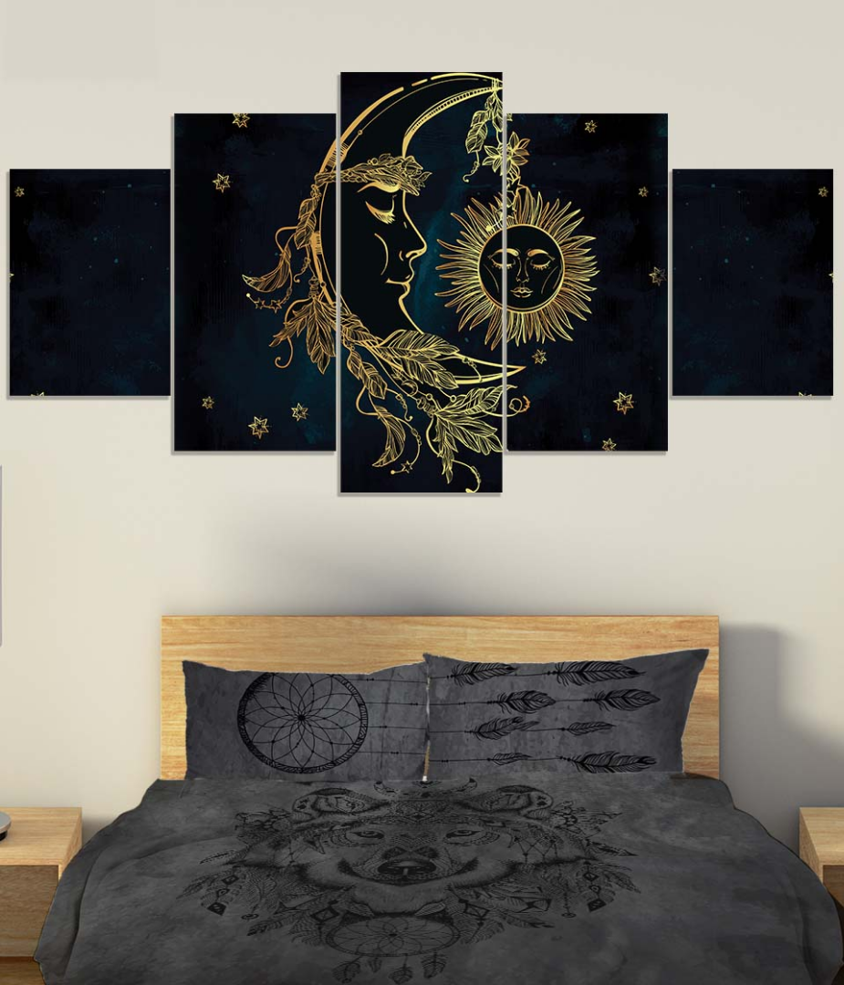 Sun and Moon Canvas, Bohemian Wolf Bedding