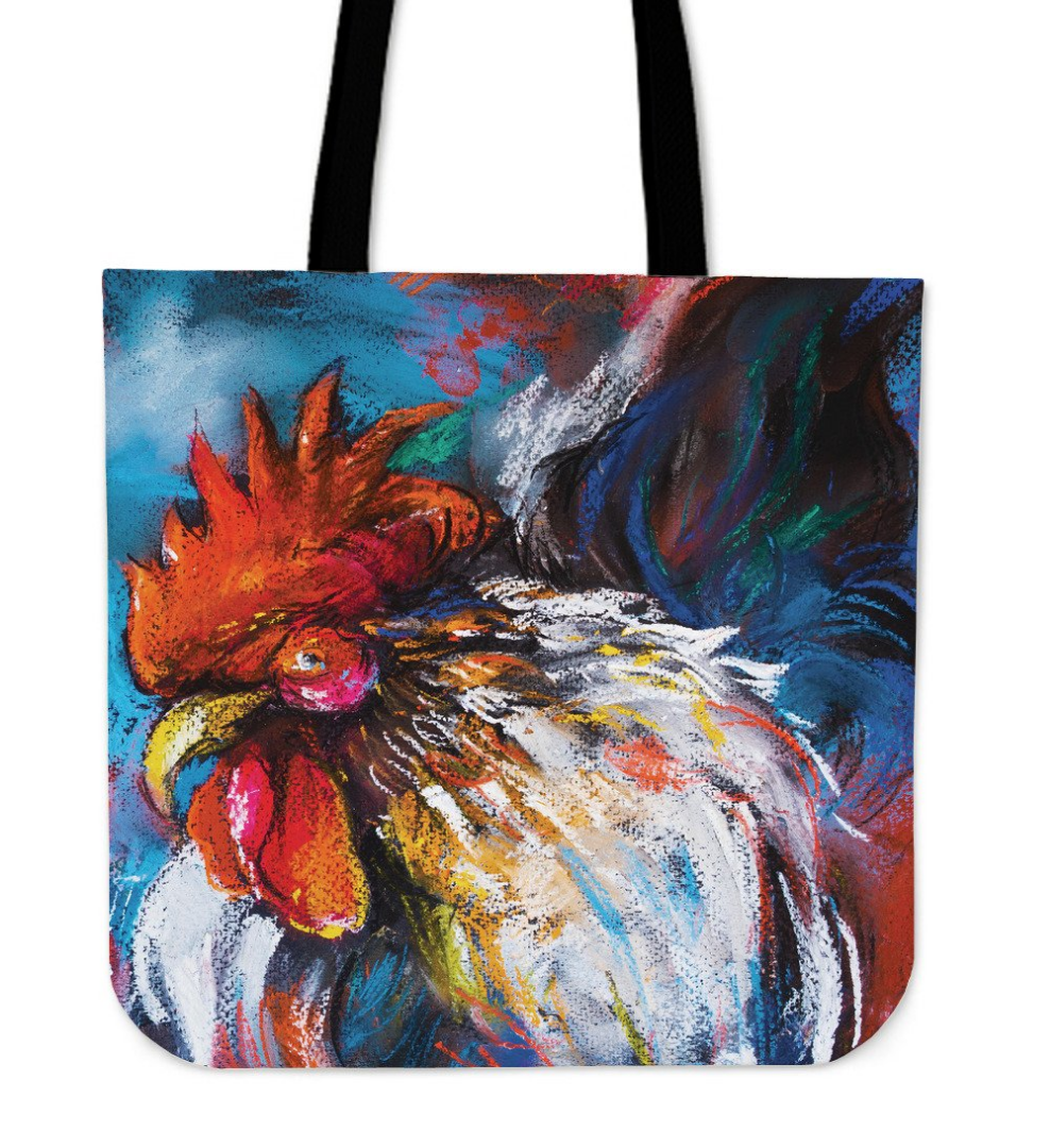 Colorful Chicken Linen Tote Bag