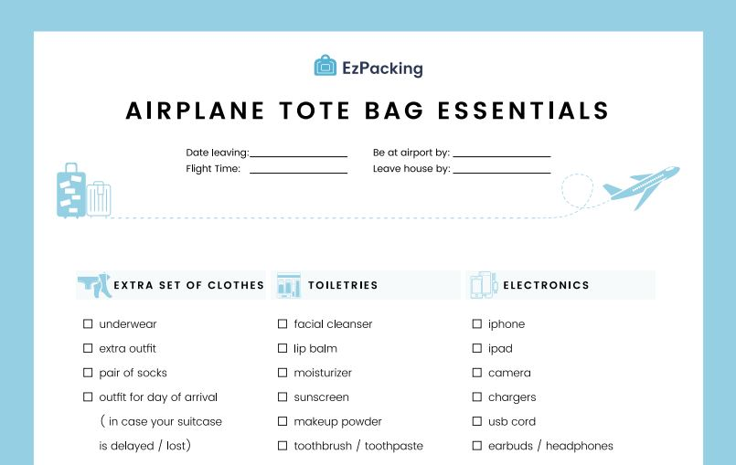 Airplane tote bag packing list