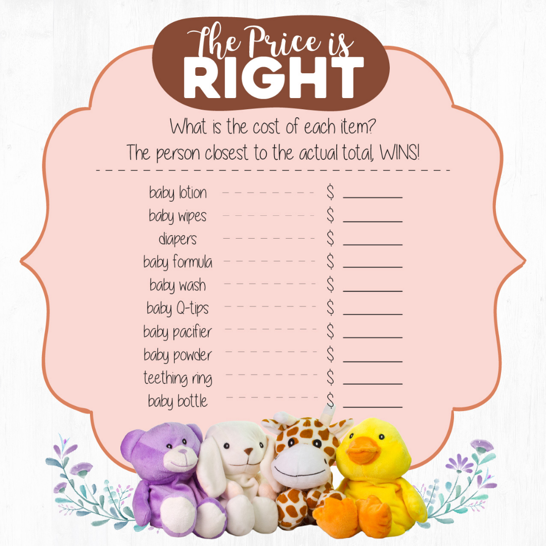 Wild Baby Baby Shower Game The Price Is Right