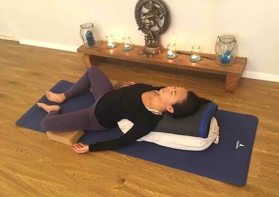 Shantihi Yoga Reclined Bound Angle Pose