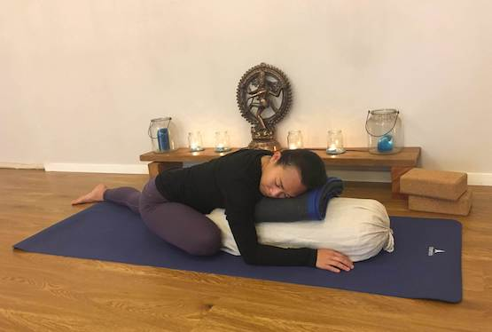 Shantihi Yoga Supported Pigeon Pose
