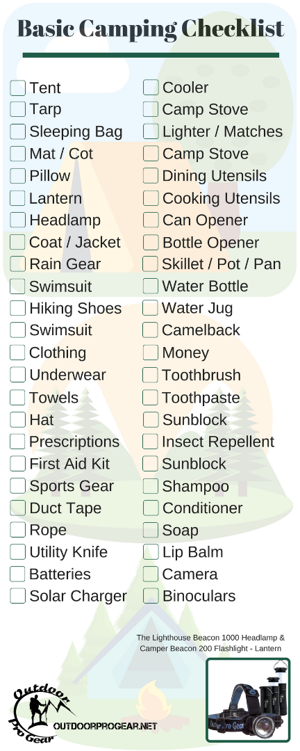 Basic Camping Checklist