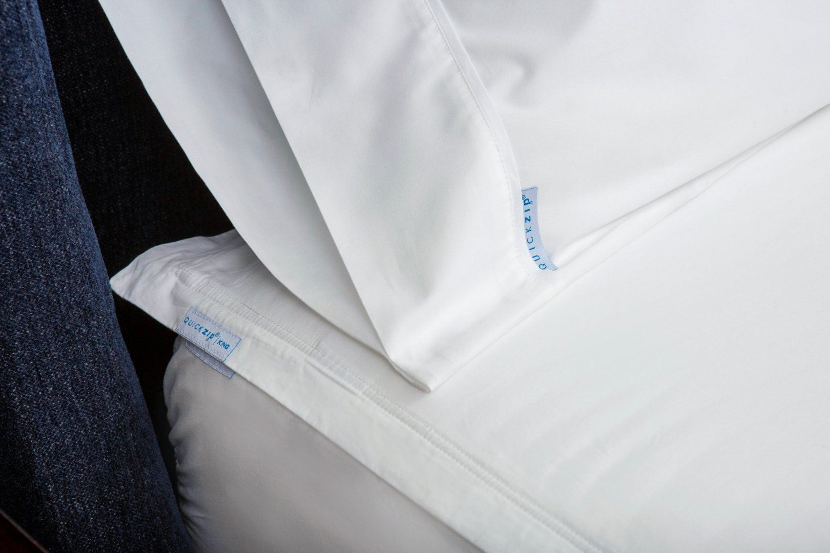 QuickZip -Adjustable Bed Sheets that zip on and won't pop off