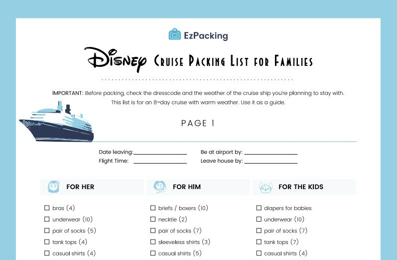 Disney cruise packing list for families