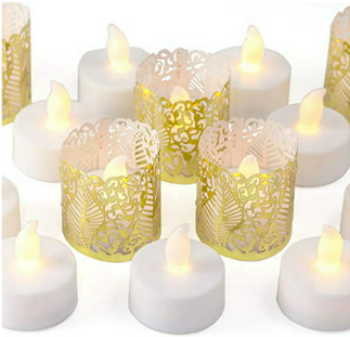 LED tealights with gold votive wraps