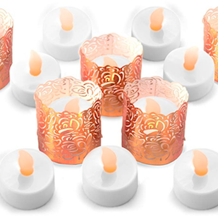 Copper tealights flameless