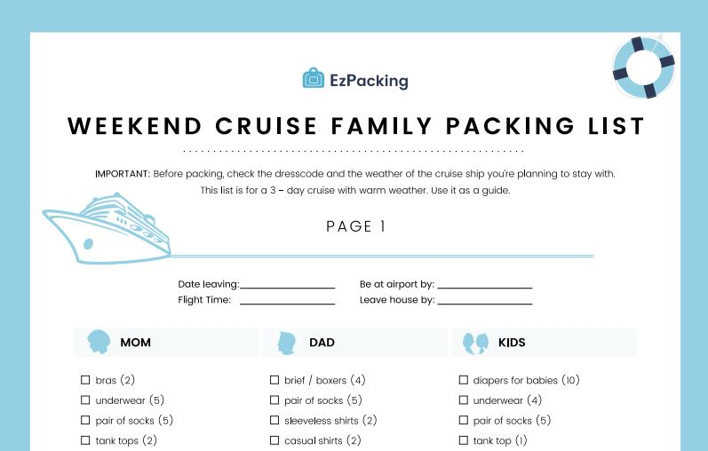The only weekend cruise family packing list you need