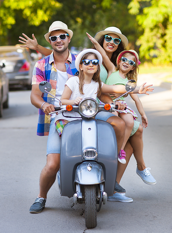 summer family scooter fun