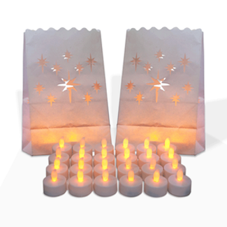 flamless tealights with luminaries