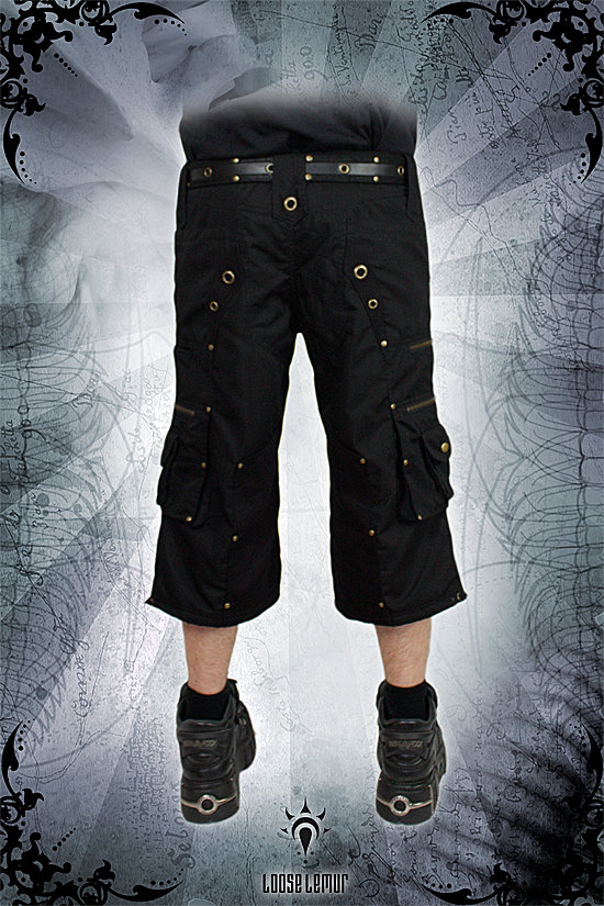 best black punk goth steampunk shorts hardwearing for men