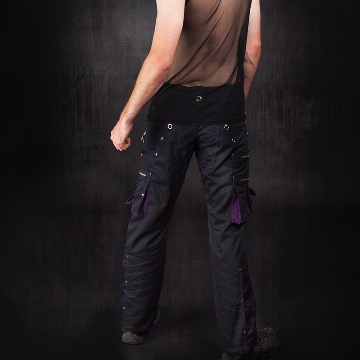 tough hard wearing and cool gothic mens pants with purple highlight