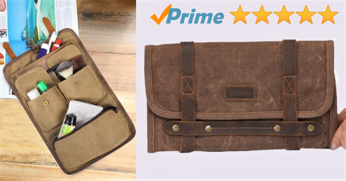 TB03 Leather Canvas Toiletry Bag for Men Women