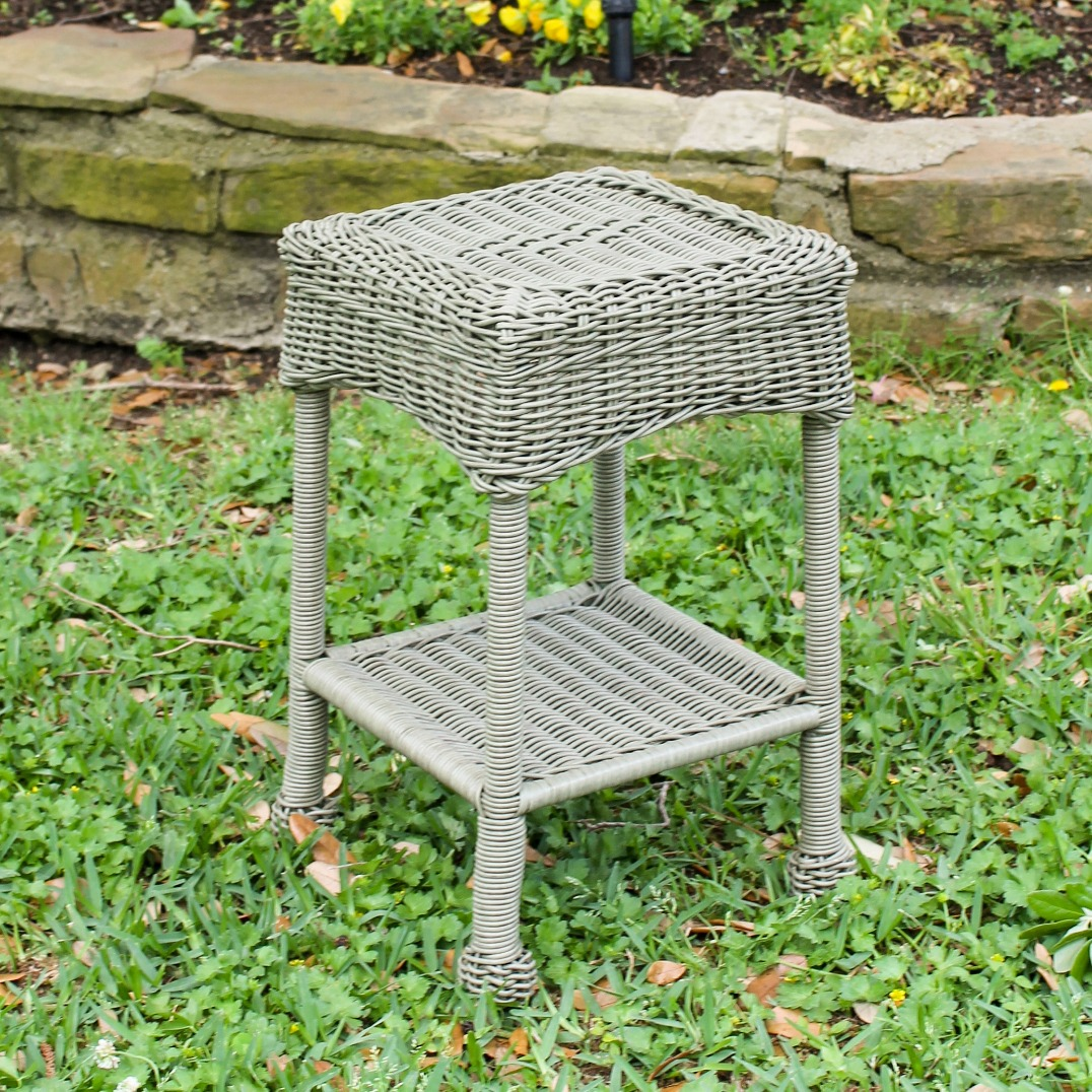 resin wicker side table