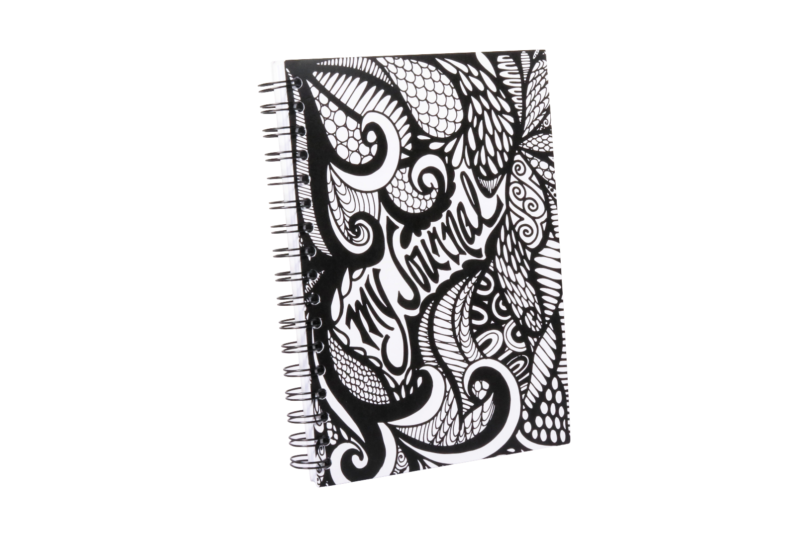 """My Journal"" Black and White Spiral Notebook Journal 100 Lined Sheets"