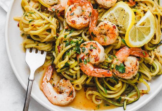 Keto Friendly Lemon Garlic Butter Shrimp with Zucchini Noodles