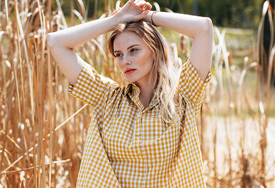 Plaid Shirts for Women | Box Top Golden Gingham