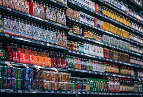 Store Shelves full of drinks